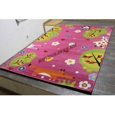 """Детский ковер CRYSTAL C022 Pink """"Лесная поляна"""" Merinos"""
