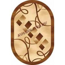 Современный овальный ковер D054 Beige-Brown-ov Da Vinci российского производства из хит-сета