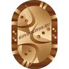 Современный овальный ковер D089 Beige-Brown-ov Da Vinci российского производства из хит-сета