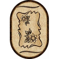 Современный овальный ковер D087 Beige-ov Vision Deluxe carving российского производства из фризе