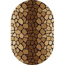 Современный овальный ковер D046 Brown-ov Vision Deluxe carving российского производства из фризе